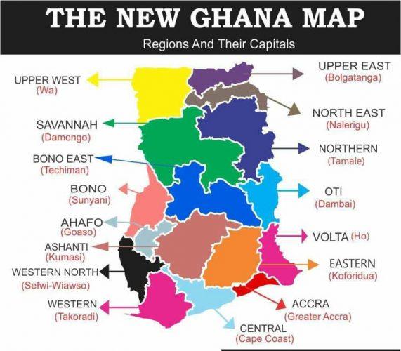 New Regional Map of Ghana